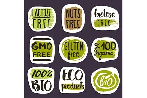 Organic food hand drawn labels set