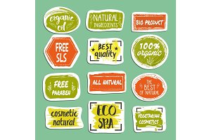 Natural cosmetics hand drawn labels set