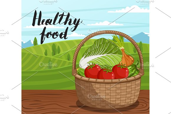 Healthy Farm Food Banner With Vegetable