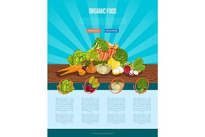 Organic farm food banner with vegetable