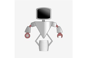 Robot character icon with full body