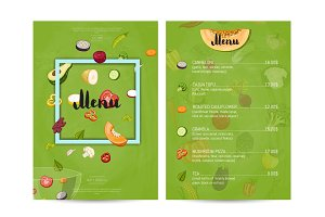 Vegetarian restaurant food menu design