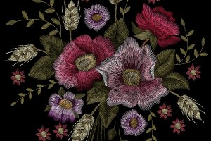 Flower embroidery. Dogrose