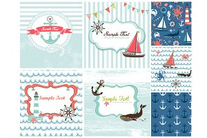 Nautical card templates sea patterns
