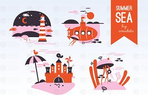 Summer sea flat design