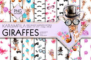 Giraffes Seamless Patterns