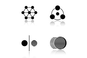 Abstract symbols drop shadow black icons set