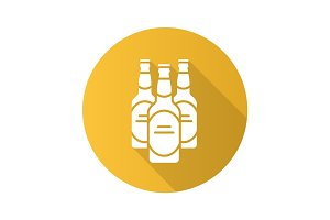 Beer bottles flat design long shadow icon