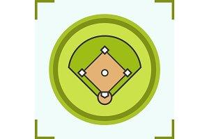 Baseball field color icon