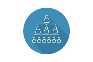 Company hierarchy flat linear long shadow icon