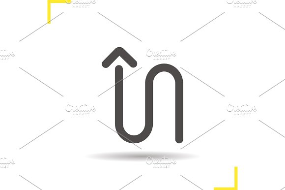 Curved arrow glyph icon