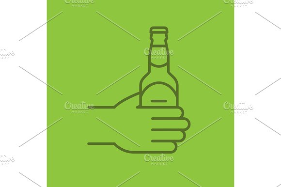 Hand With Beer Bottle Color Linear Icon