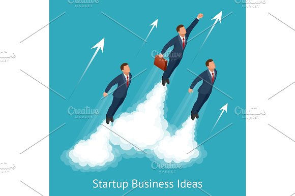 Vector Isometric Startup Business Innovation Technology Start Button Take Off Young Businessmen Development And Business Launch Up