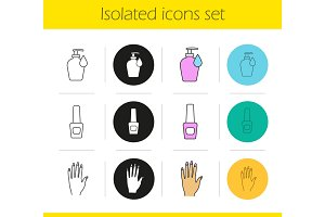 Manicure icons set