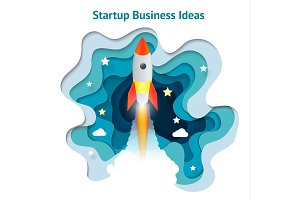Vector creative illustration of business startup, innovation, technology, start button. Paper spaceship launch to space. Development and business launch up, business concept.