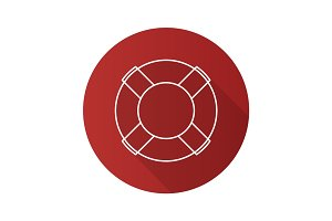 Life ring flat linear long shadow icon