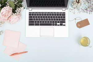 Floral office desk with laptop