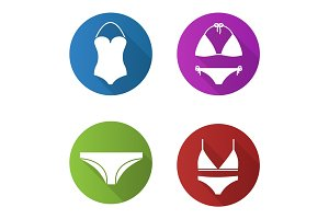 Women's underwear flat design long shadow icons set