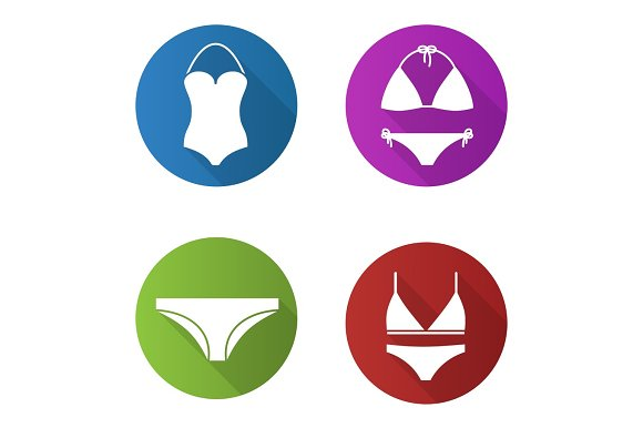 Women's underwear flat design long shadow icons set in Graphics