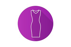 Evening dress flat linear long shadow icon