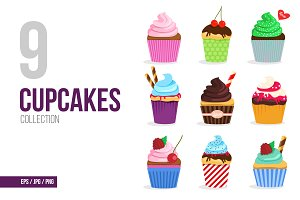 Cupcakes vector collection