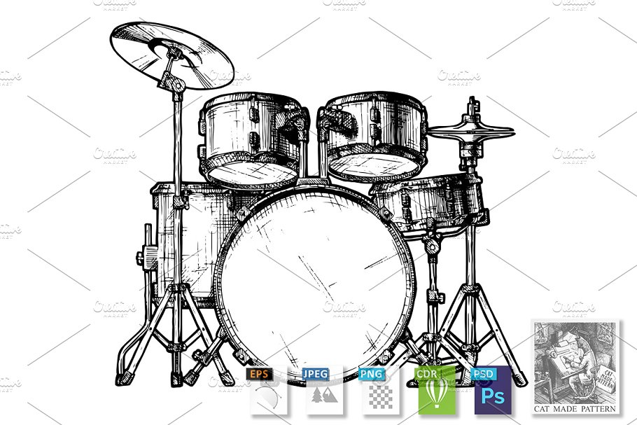 save  illustration of drum kit