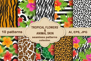Tropical flowers/animal skin pattern
