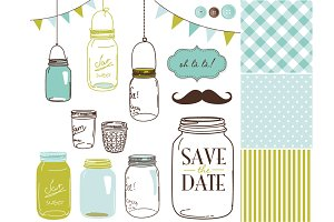 Mason Jars Clipart and digital paper