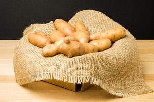Basket of fingerling potatoes