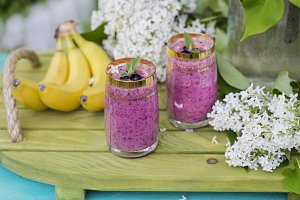 Smoothie of banana and berries frozen