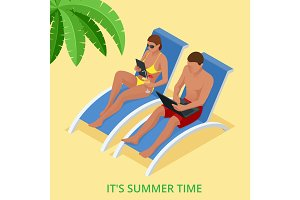 It s Summer time. Summer party concept. Fun, party, background, vector, picture, art, image, design, travel, poster, event