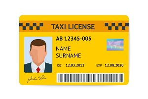 Taxi license symbol vector illustration. Document taxi driver isolated on white background.