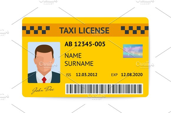 Taxi License Symbol Vector Illustration Document Taxi Driver Isolated On White Background