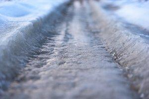 Ice road closeup focus