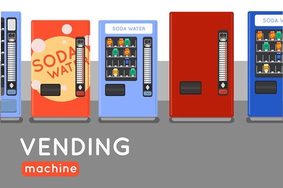 Six Vending Machine Flat Design