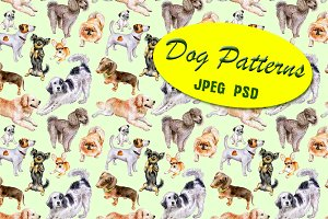 Watercolor. Pattern of dogs