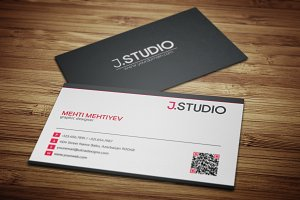Clean QR Code Business Card #1