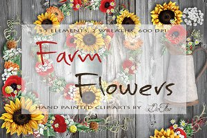 Farm Flowers Watercolor Clip Art
