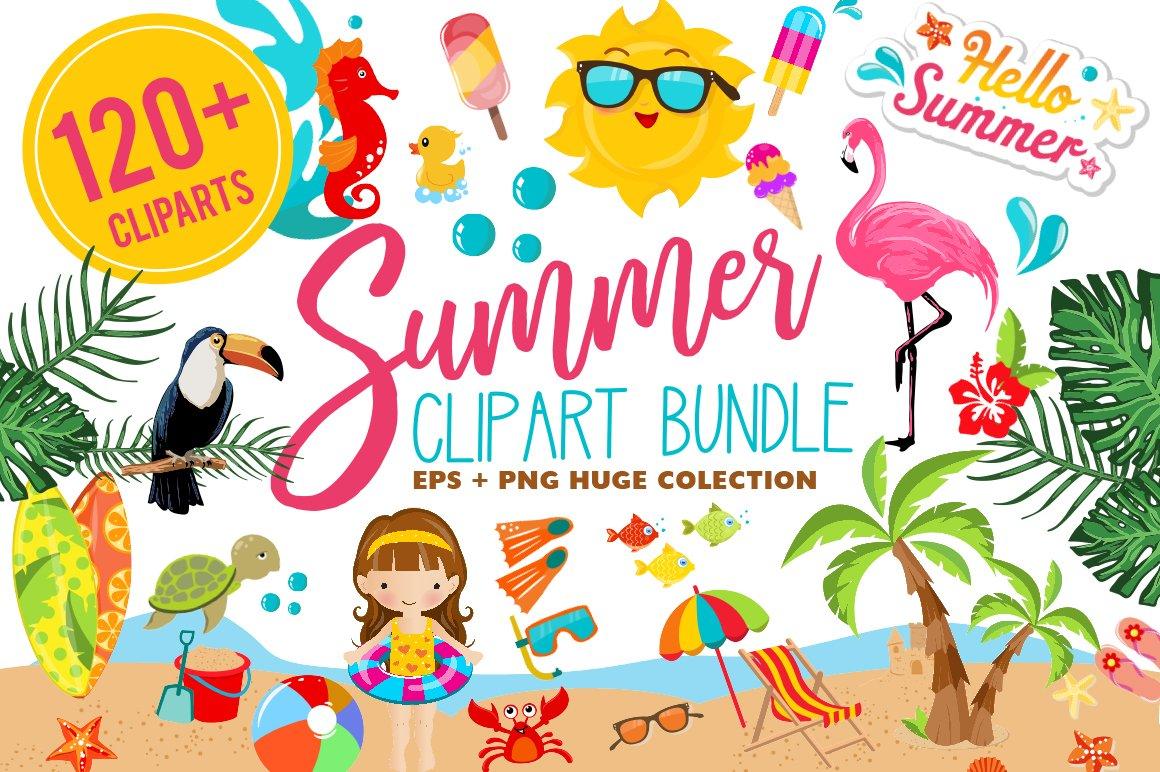 Summer Clipart Bundle - 126 cliparts ~ Illustrations ... (1160 x 772 Pixel)