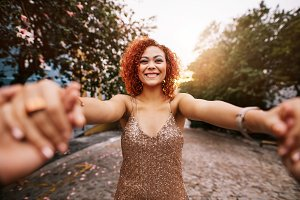 Happy young woman in a romantic