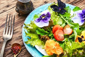 salad with herb and flower