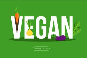 Vegan banner with vegetables
