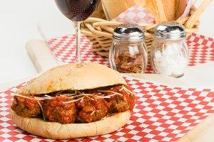 Fresh meatball sub sandwich for lunch