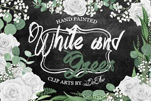White And Green Watercolor Clip Art