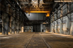 Industrial interior of an old factory