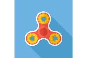 Fidget spinner flat design vector icon.