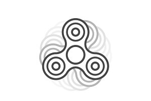 Fidget spinner line vector icon.