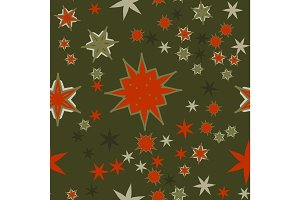 Seamless texture red on dark green stylized flowers and stars.