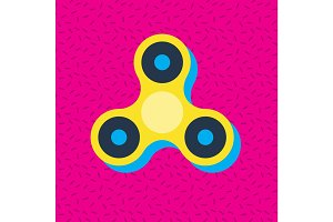 Fidget spinner Memphis style vector icon.
