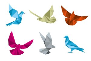 Paper doves origami vector set